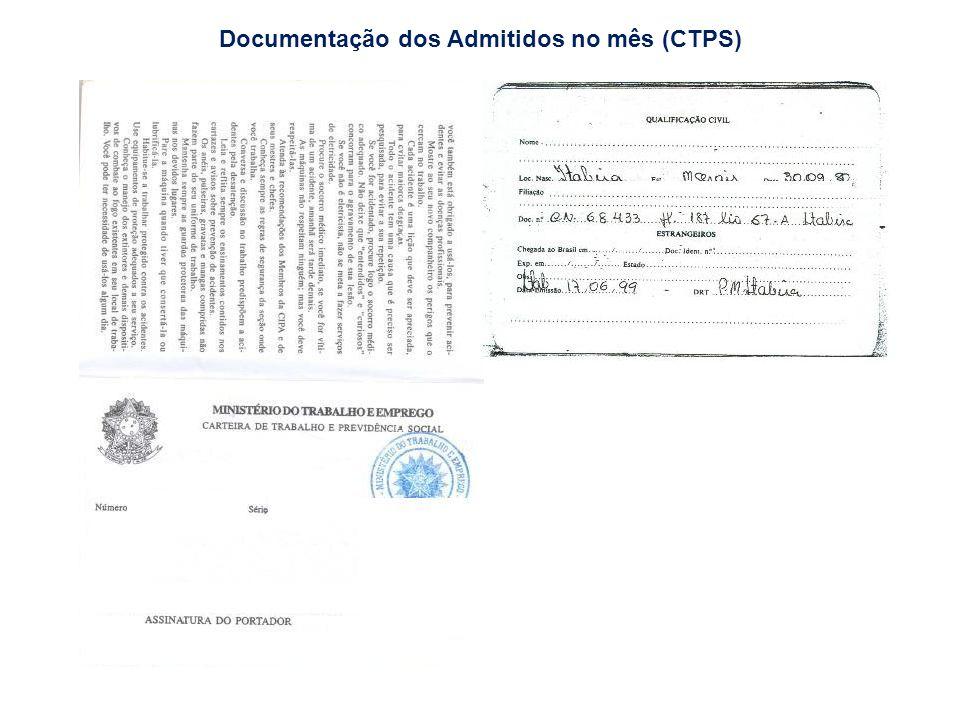 Documentação dos Admitidos no mês (CTPS)
