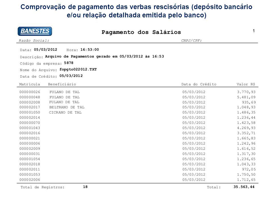 Comprovação de pagamento das verbas rescisórias (depósito bancário e/ou relação detalhada emitida pelo banco)