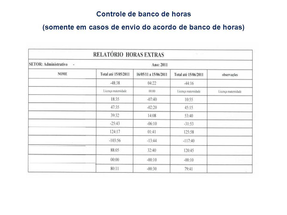 Controle de banco de horas (somente em casos de envio do acordo de banco de horas)