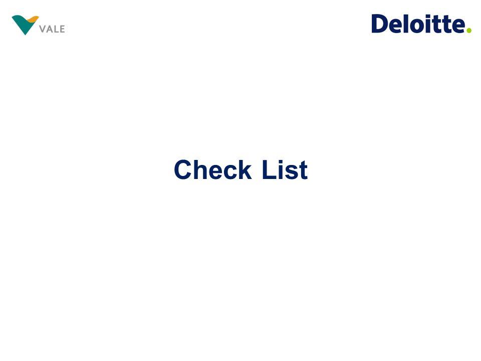 Visando otimizar as análises, diante da nossa experiência, em conjunto com a Vale, realizamos algumas modificações no check list.