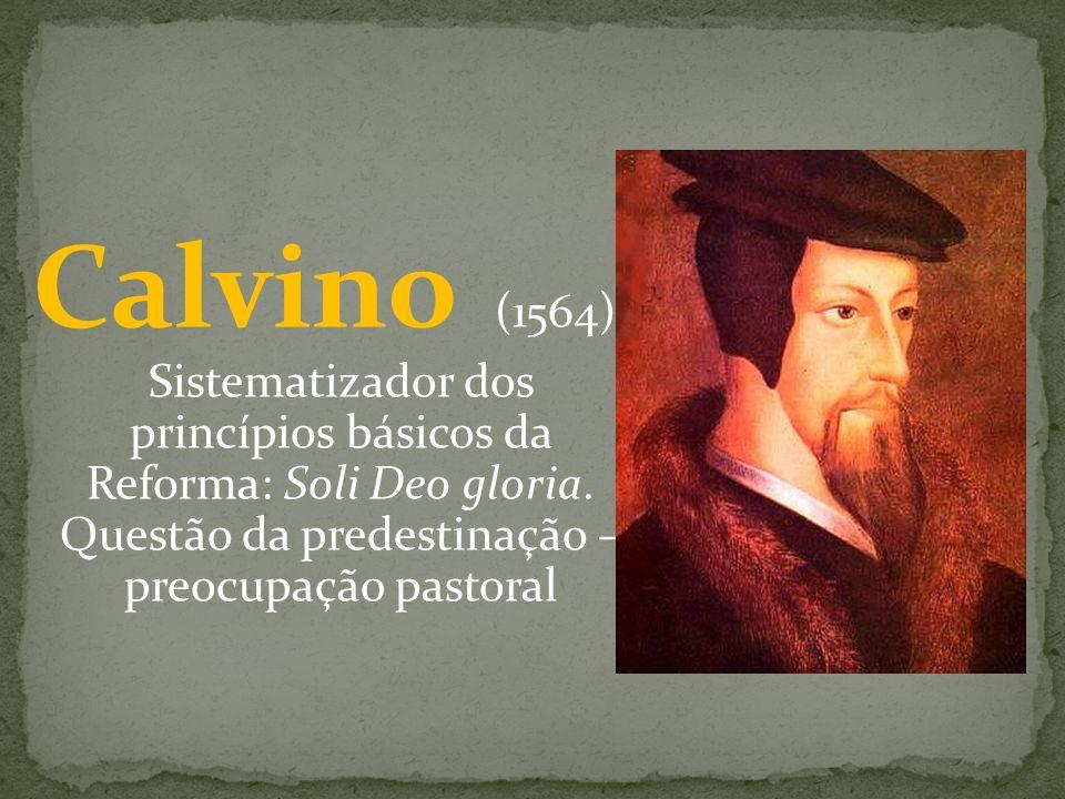 Calvino (1564) Sistematizador dos princípios básicos da Reforma: Soli Deo gloria. Questão da predestinação – preocupação pastoral