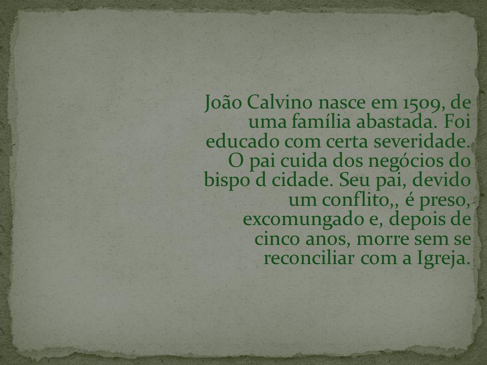 João Calvino nasce em 1509, de uma família abastada. Foi educado com certa severidade. O pai cuida dos negócios do bispo d cidade. Seu pai, devido um