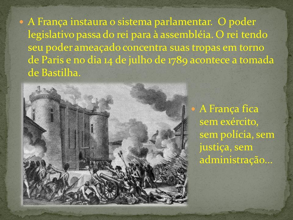 A França instaura o sistema parlamentar. O poder legislativo passa do rei para à assembléia. O rei tendo seu poder ameaçado concentra suas tropas em t