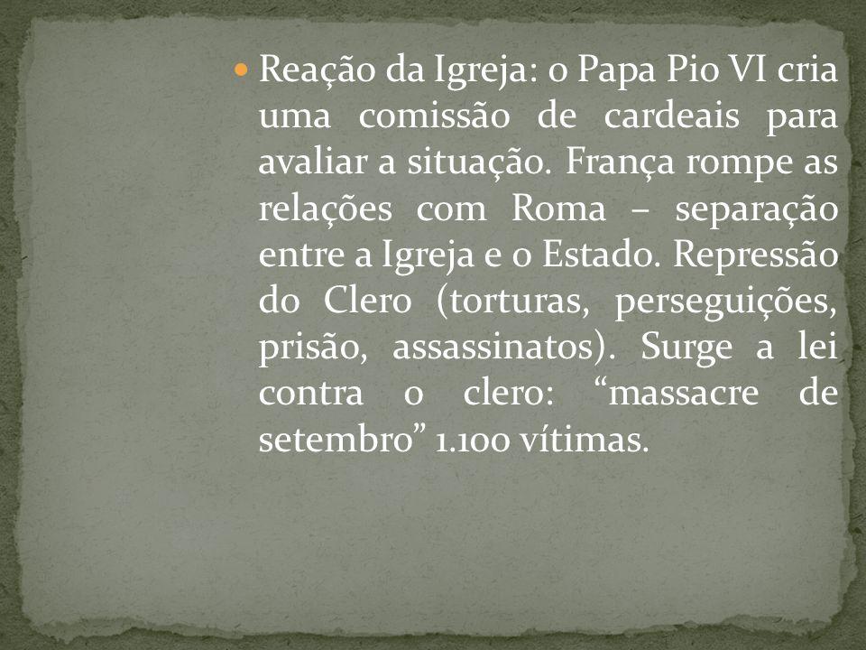 Reação da Igreja: o Papa Pio VI cria uma comissão de cardeais para avaliar a situação. França rompe as relações com Roma – separação entre a Igreja e