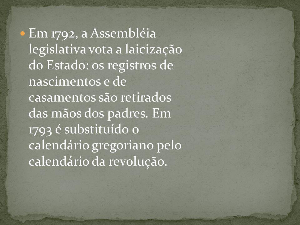 Em 1792, a Assembléia legislativa vota a laicização do Estado: os registros de nascimentos e de casamentos são retirados das mãos dos padres. Em 1793