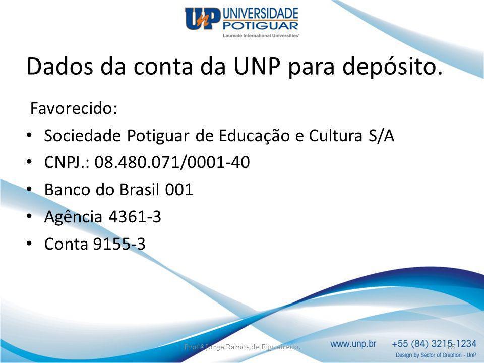 Favorecido: Sociedade Potiguar de Educação e Cultura S/A CNPJ.: 08.480.071/0001-40 Banco do Brasil 001 Agência 4361-3 Conta 9155-3 Prof.º Jorge Ramos
