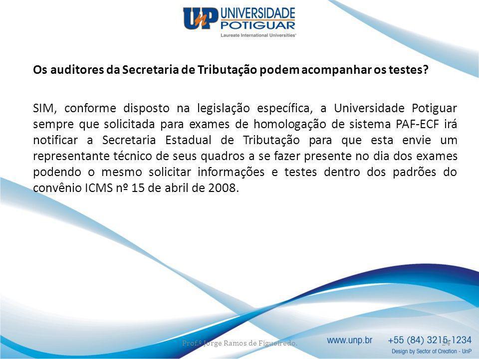 Os auditores da Secretaria de Tributação podem acompanhar os testes? SIM, conforme disposto na legislação específica, a Universidade Potiguar sempre q