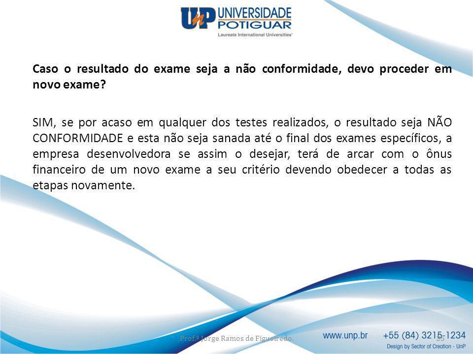 Caso o resultado do exame seja a não conformidade, devo proceder em novo exame? SIM, se por acaso em qualquer dos testes realizados, o resultado seja