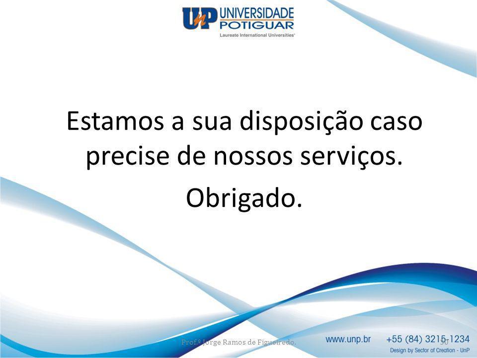 Estamos a sua disposição caso precise de nossos serviços. Obrigado. Prof.º Jorge Ramos de Figueiredo.30