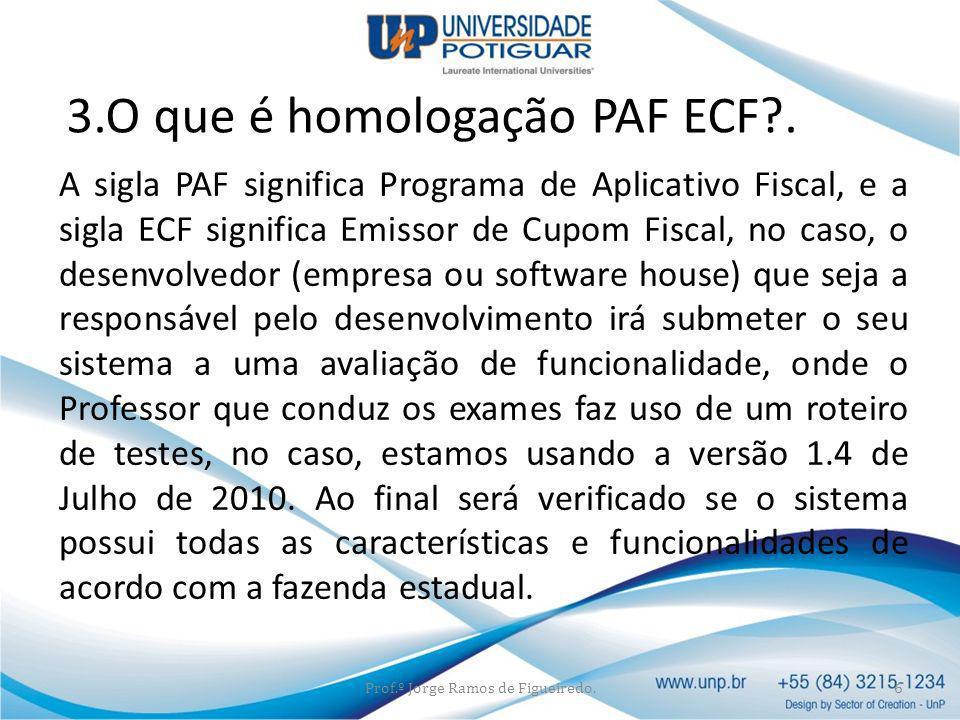 A sigla PAF significa Programa de Aplicativo Fiscal, e a sigla ECF significa Emissor de Cupom Fiscal, no caso, o desenvolvedor (empresa ou software ho