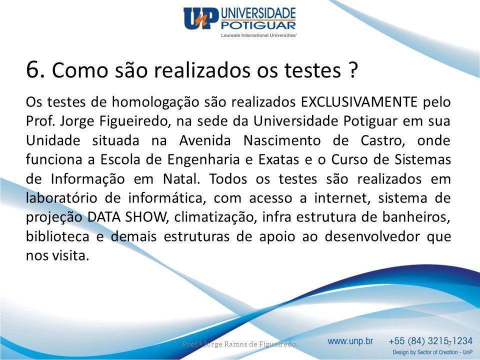 Os testes de homologação são realizados EXCLUSIVAMENTE pelo Prof. Jorge Figueiredo, na sede da Universidade Potiguar em sua Unidade situada na Avenida