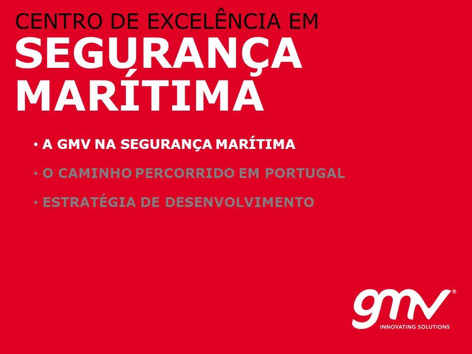© GMV, 2010 SEGURANÇA MARÍTIMA CENTRO DE EXCELÊNCIA EM A GMV NA SEGURANÇA MARÍTIMA O CAMINHO PERCORRIDO EM PORTUGAL ESTRATÉGIA DE DESENVOLVIMENTO