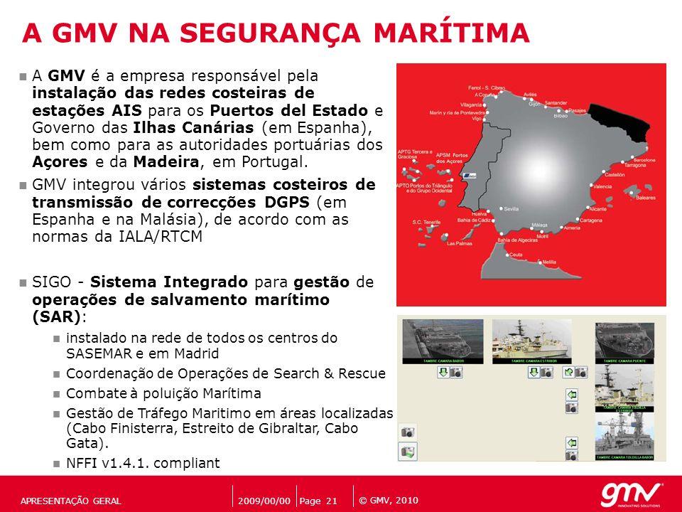 © GMV, 2010 2009/00/00Page 21APRESENTAÇÃO GERAL A GMV NA SEGURANÇA MARÍTIMA A GMV é a empresa responsável pela instalação das redes costeiras de estaç