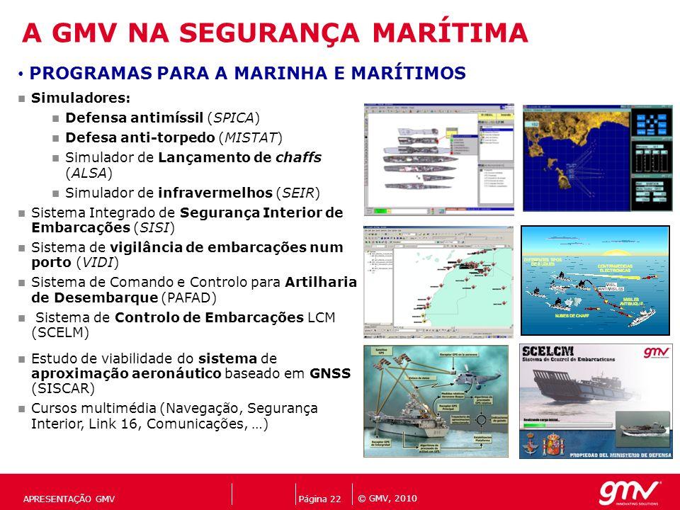 © GMV, 2010 Página 22 APRESENTAÇÃO GMV Simuladores: Defensa antimíssil (SPICA) Defesa anti-torpedo (MISTAT) Simulador de Lançamento de chaffs (ALSA) S