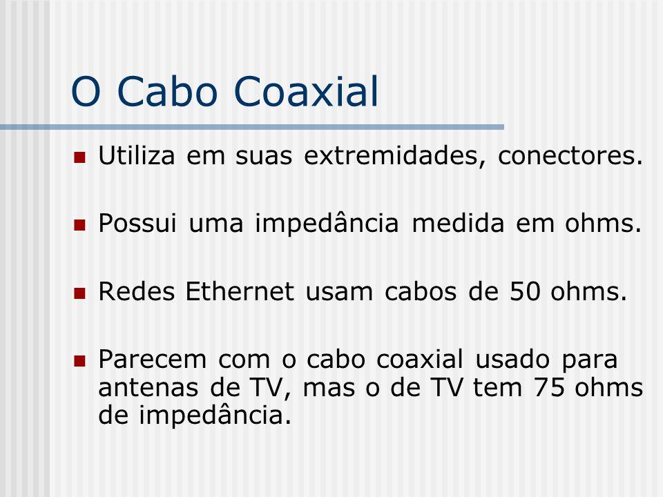 O Cabo Coaxial Utiliza em suas extremidades, conectores.
