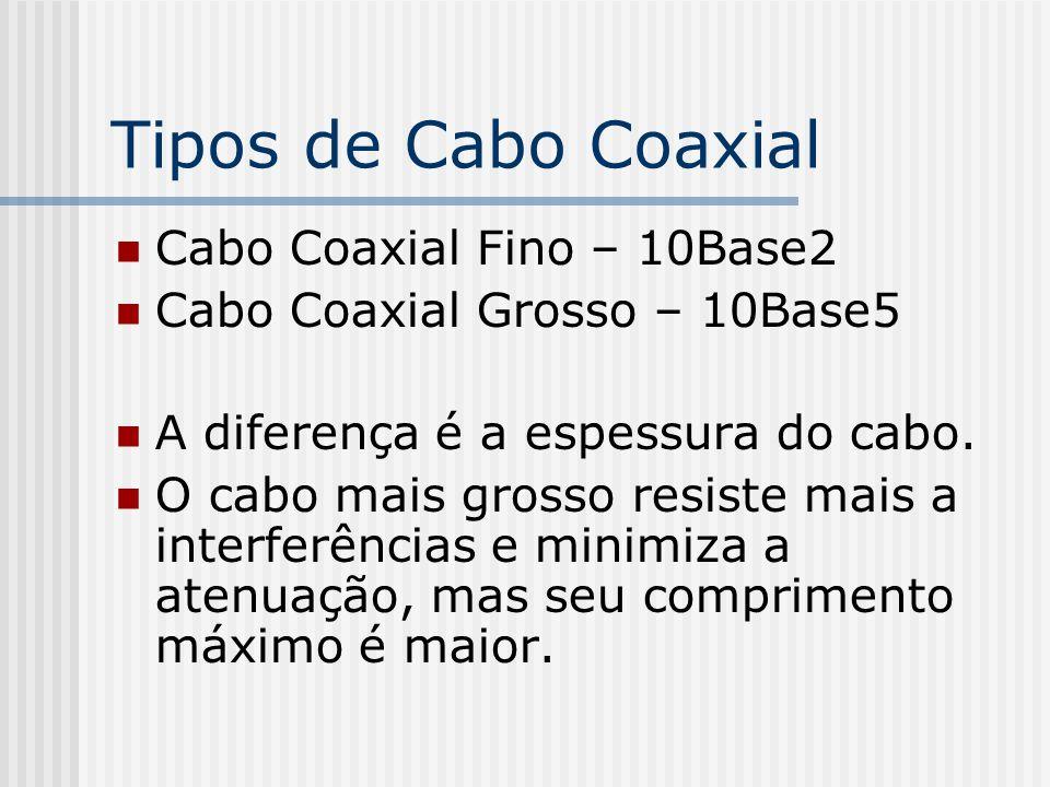 Tipos de Cabo Coaxial Cabo Coaxial Fino – 10Base2 Cabo Coaxial Grosso – 10Base5 A diferença é a espessura do cabo.