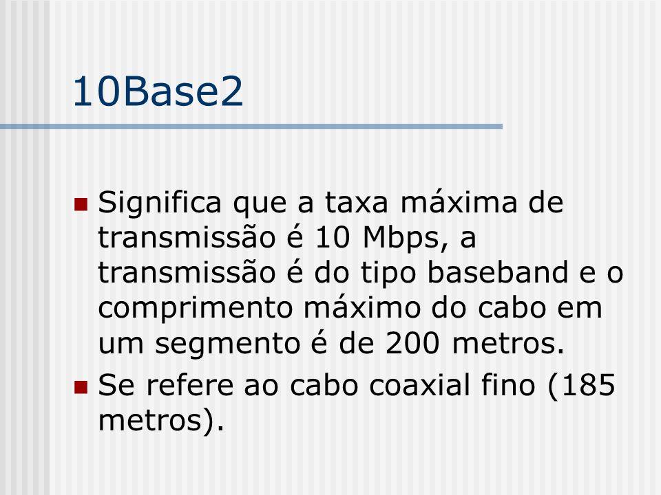 10Base2 Significa que a taxa máxima de transmissão é 10 Mbps, a transmissão é do tipo baseband e o comprimento máximo do cabo em um segmento é de 200 metros.