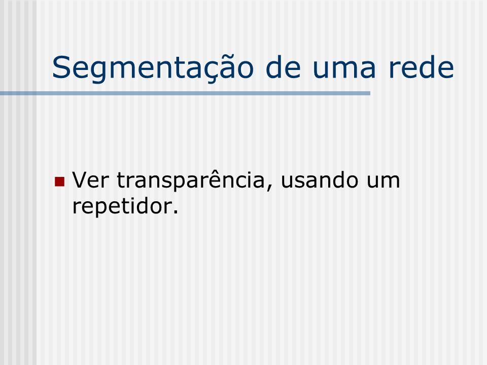Segmentação de uma rede Ver transparência, usando um repetidor.