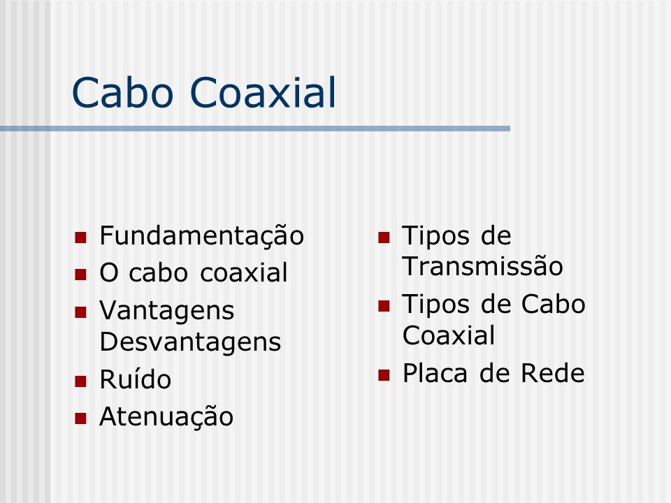 Cabo Coaxial Fundamentação O cabo coaxial Vantagens Desvantagens Ruído Atenuação Tipos de Transmissão Tipos de Cabo Coaxial Placa de Rede
