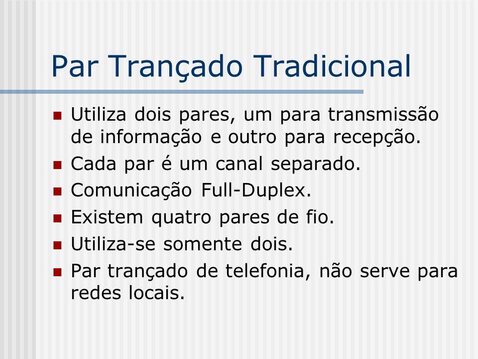 Par Trançado Tradicional Utiliza dois pares, um para transmissão de informação e outro para recepção.