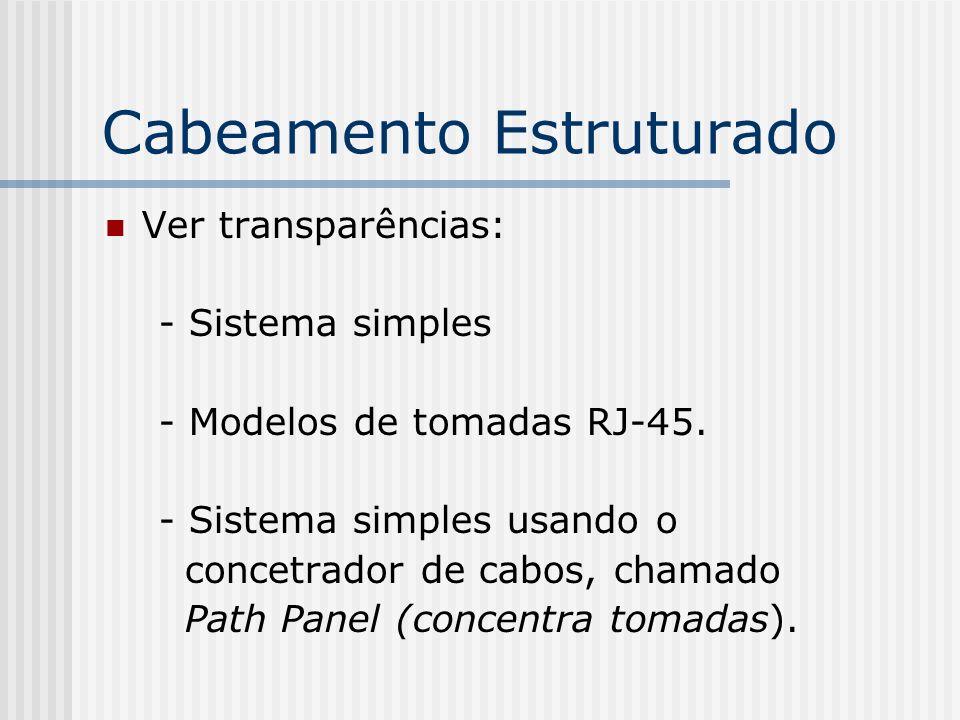 Cabeamento Estruturado Ver transparências: - Sistema simples - Modelos de tomadas RJ-45.