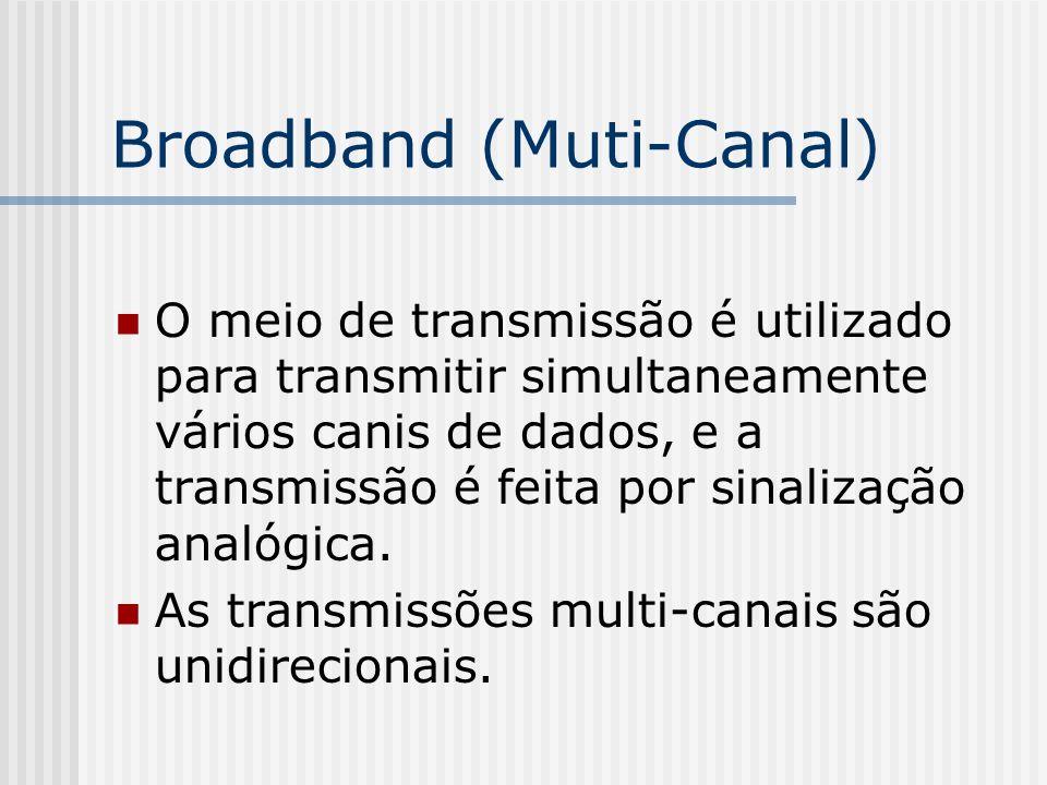 Broadband (Muti-Canal) O meio de transmissão é utilizado para transmitir simultaneamente vários canis de dados, e a transmissão é feita por sinalização analógica.