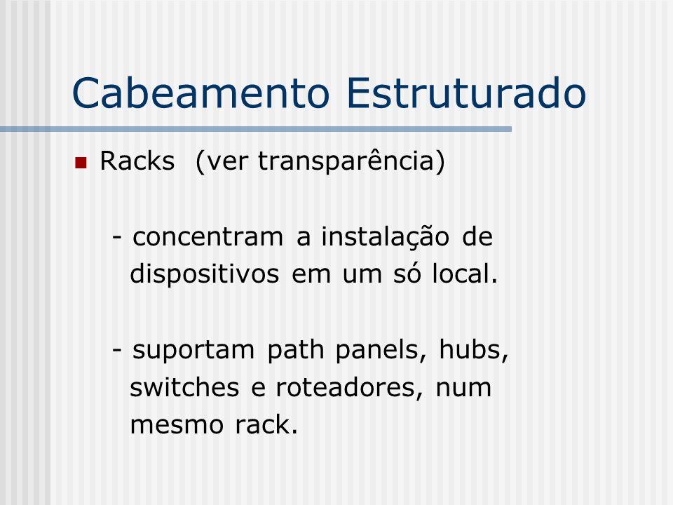 Cabeamento Estruturado Racks (ver transparência) - concentram a instalação de dispositivos em um só local.