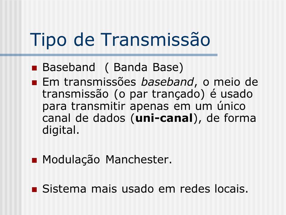 Tipo de Transmissão Baseband ( Banda Base) Em transmissões baseband, o meio de transmissão (o par trançado) é usado para transmitir apenas em um único canal de dados (uni-canal), de forma digital.