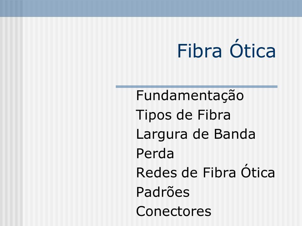 Fibra Ótica Fundamentação Tipos de Fibra Largura de Banda Perda Redes de Fibra Ótica Padrões Conectores