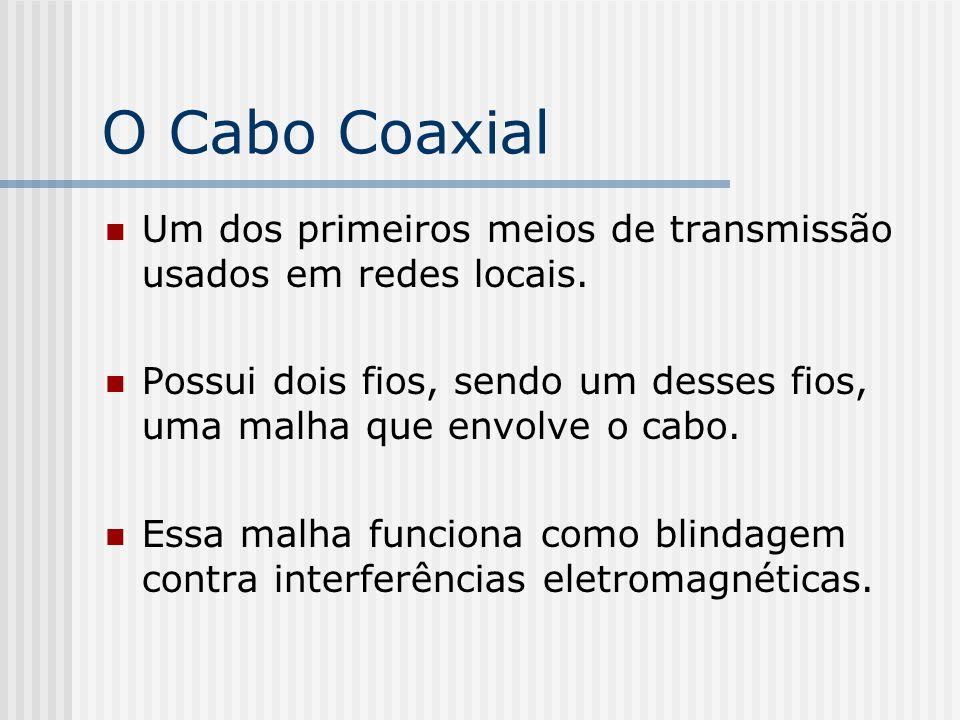 O Cabo Coaxial Um dos primeiros meios de transmissão usados em redes locais.