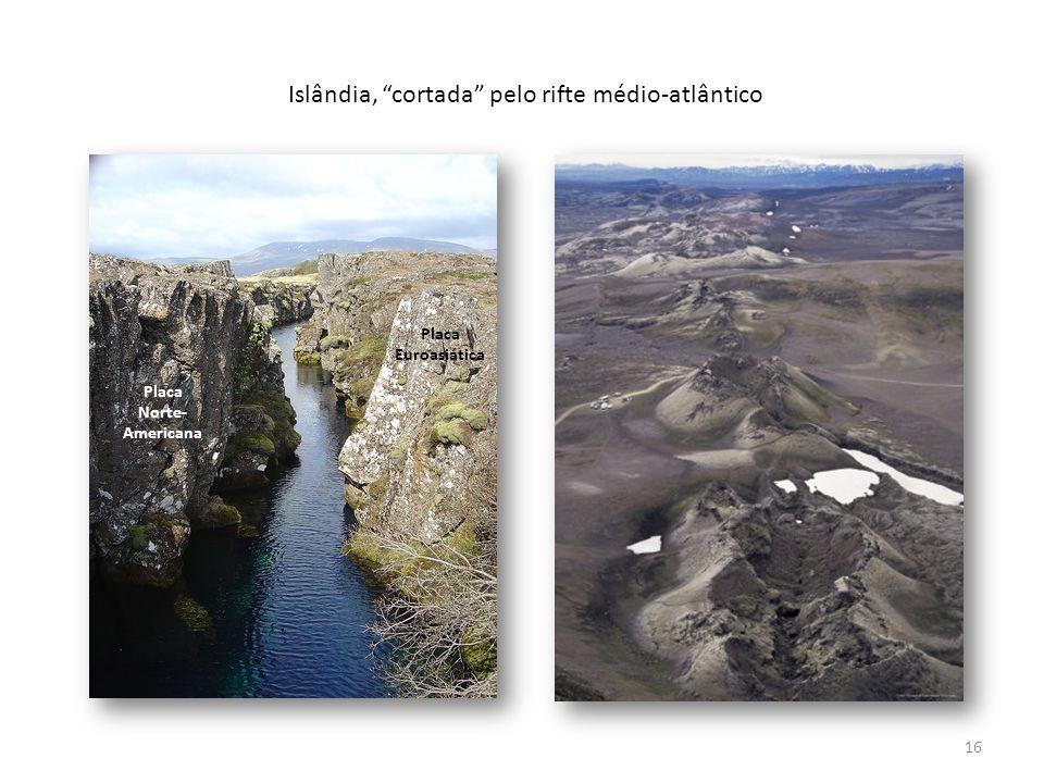 Islândia, cortada pelo rifte médio-atlântico Placa Euroasiática Placa Norte- Americana 16