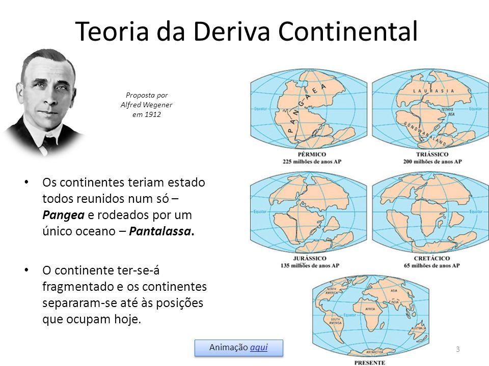Teoria da Deriva Continental Os continentes teriam estado todos reunidos num só – Pangea e rodeados por um único oceano – Pantalassa. O continente ter