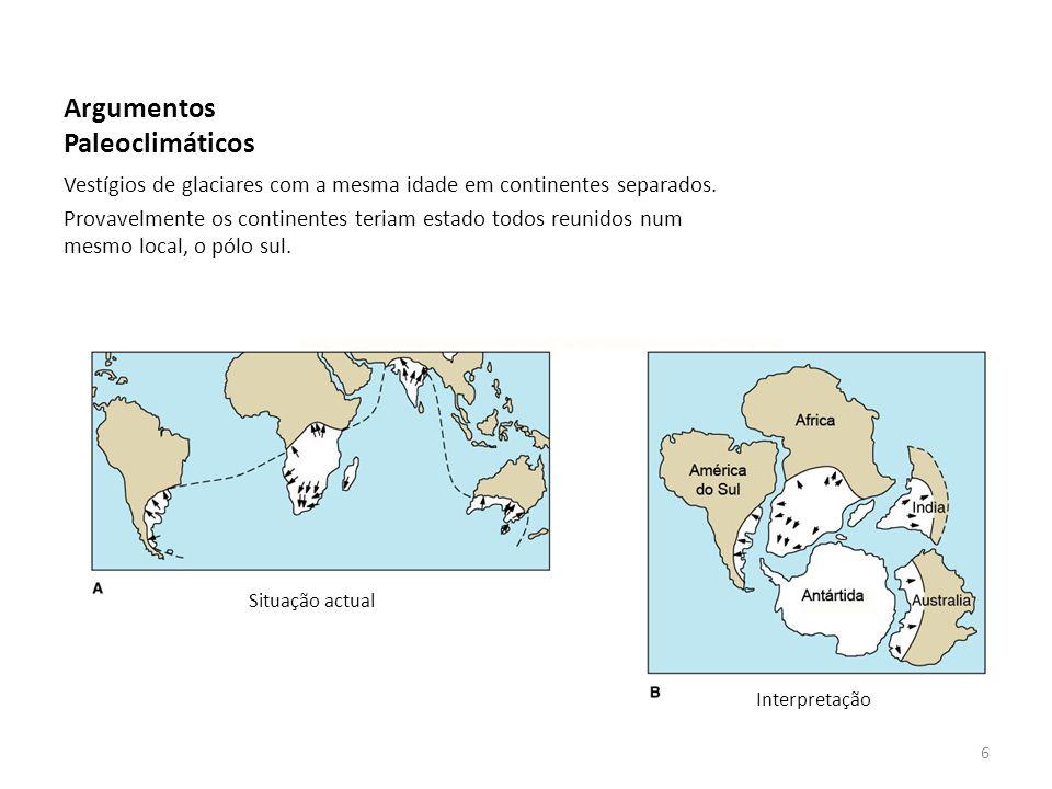 Argumentos Paleoclimáticos Vestígios de glaciares com a mesma idade em continentes separados. Provavelmente os continentes teriam estado todos reunido