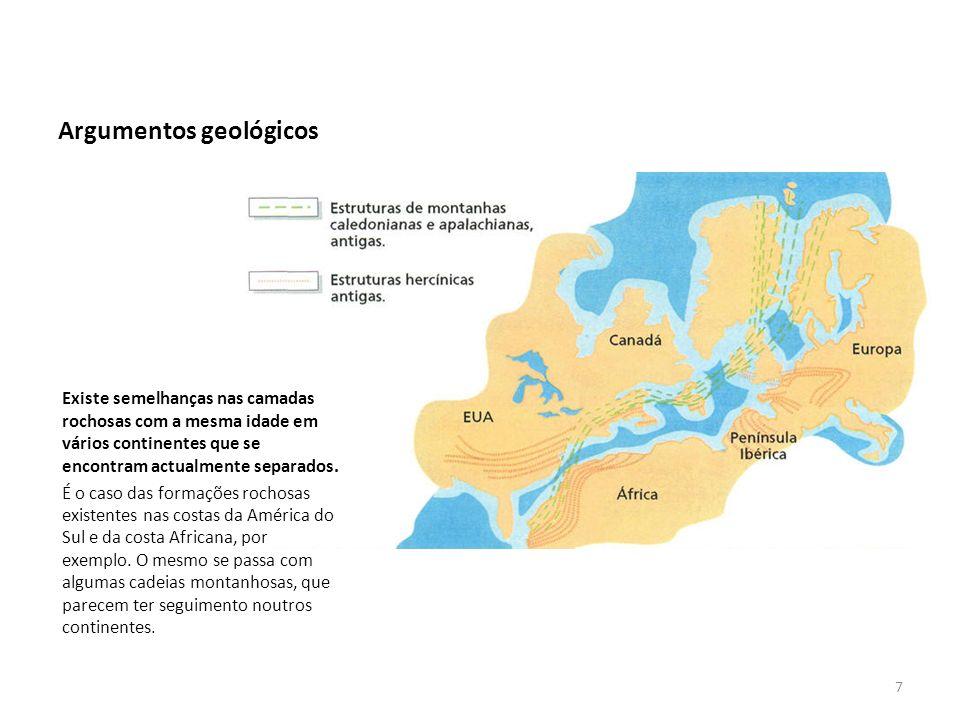 Argumentos geológicos Existe semelhanças nas camadas rochosas com a mesma idade em vários continentes que se encontram actualmente separados. É o caso