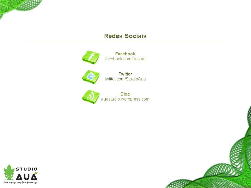 Redes Sociais Facebook facebook.com/aua.art Twitter twitter.com/StudioAua Blog auastudio.wordpress.com