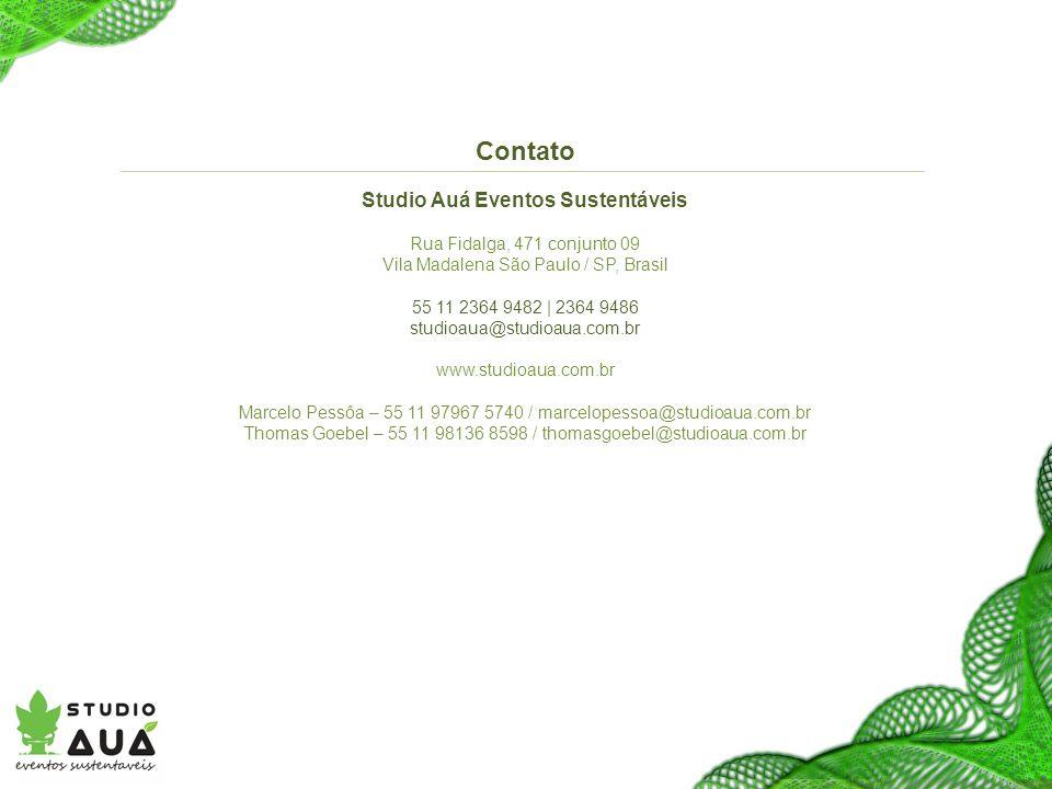 Contato Studio Auá Eventos Sustentáveis Rua Fidalga, 471 conjunto 09 Vila Madalena São Paulo / SP, Brasil 55 11 2364 9482 | 2364 9486 studioaua@studioaua.com.br www.studioaua.com.br Marcelo Pessôa – 55 11 97967 5740 / marcelopessoa@studioaua.com.br Thomas Goebel – 55 11 98136 8598 / thomasgoebel@studioaua.com.br