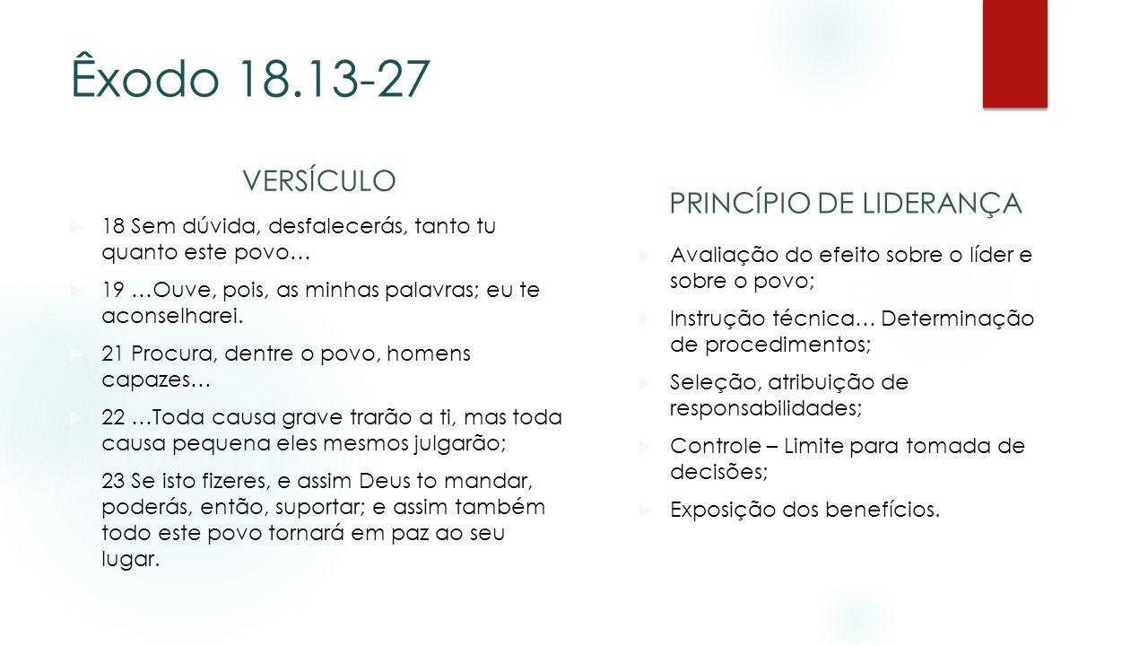 Êxodo 18.13-27 VERSÍCULO 18 Sem dúvida, desfalecerás, tanto tu quanto este povo… 19 …Ouve, pois, as minhas palavras; eu te aconselharei. 21 Procura, d