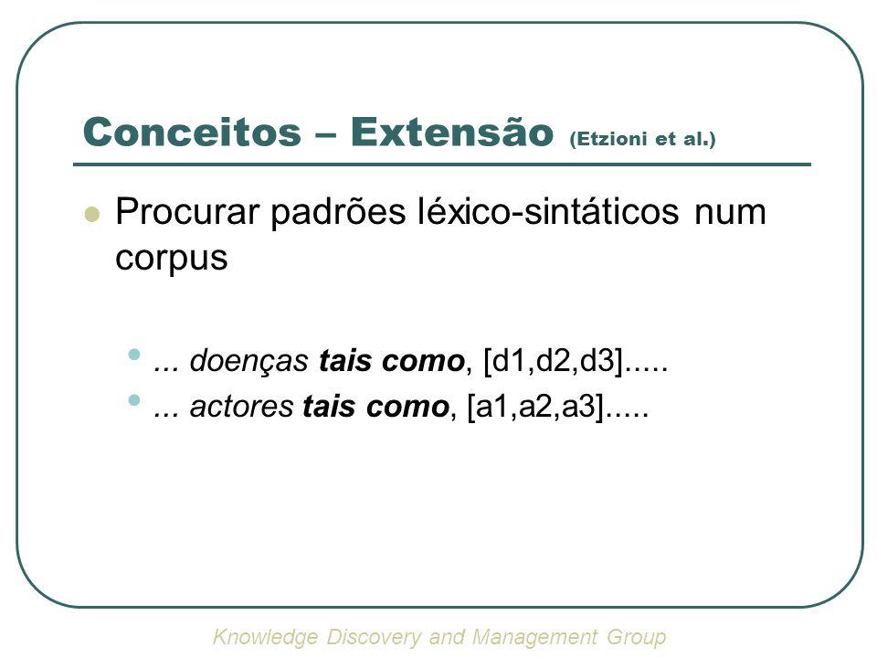 Conceitos – Extensão (Etzioni et al.) Procurar padrões léxico-sintáticos num corpus... doenças tais como, [d1,d2,d3]........ actores tais como, [a1,a2