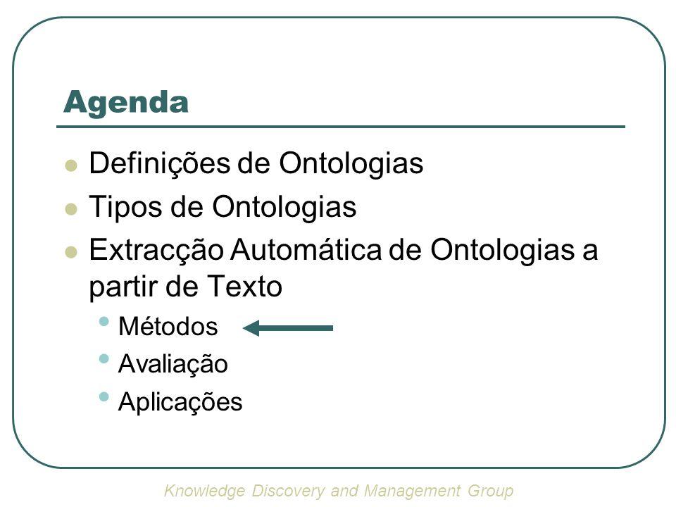 Definições de Ontologias Tipos de Ontologias Extracção Automática de Ontologias a partir de Texto Métodos Avaliação Aplicações Agenda Knowledge Discov
