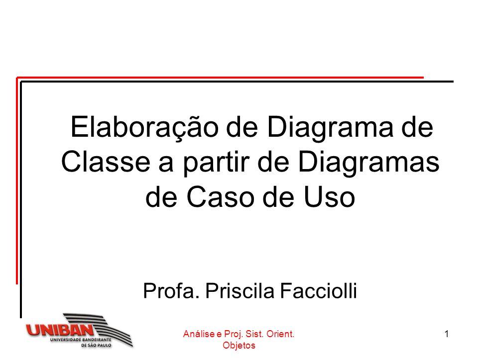 Análise e Proj. Sist. Orient. Objetos 1 Elaboração de Diagrama de Classe a partir de Diagramas de Caso de Uso Profa. Priscila Facciolli
