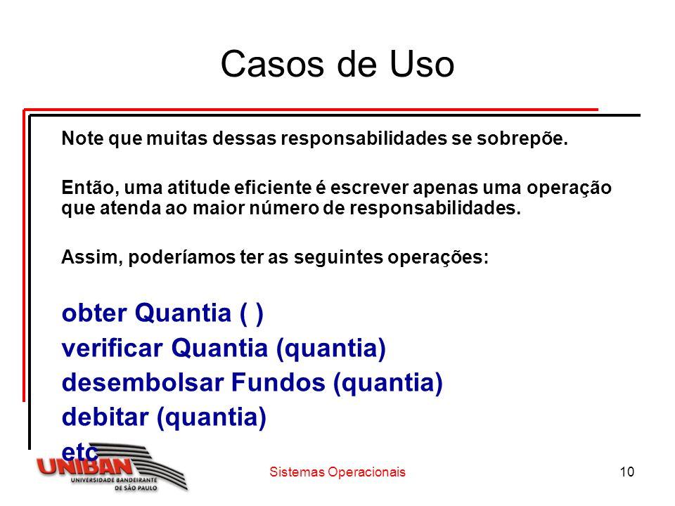 Sistemas Operacionais10 Casos de Uso Note que muitas dessas responsabilidades se sobrepõe.