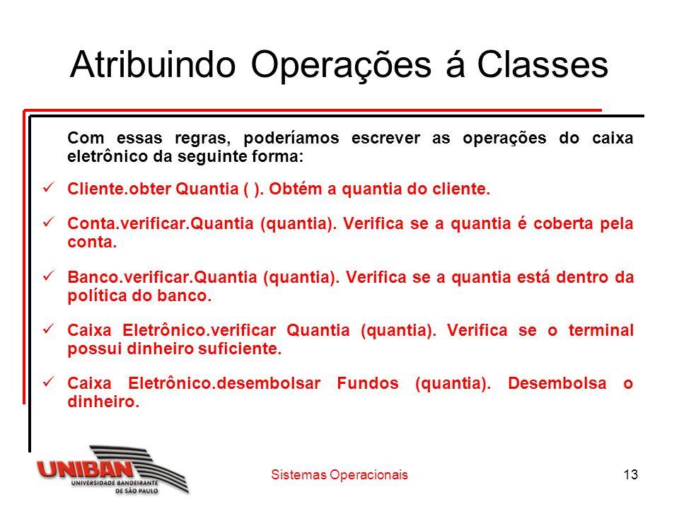 Sistemas Operacionais13 Atribuindo Operações á Classes Com essas regras, poderíamos escrever as operações do caixa eletrônico da seguinte forma: Cliente.obter Quantia ( ).