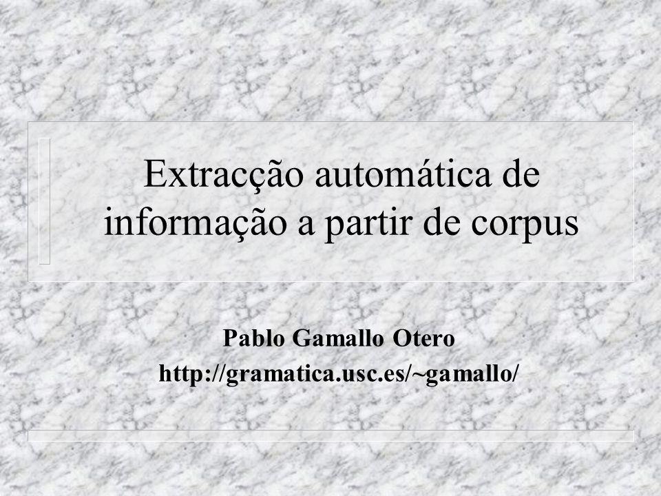 Extracção automática de informação a partir de corpus Pablo Gamallo Otero http://gramatica.usc.es/~gamallo/