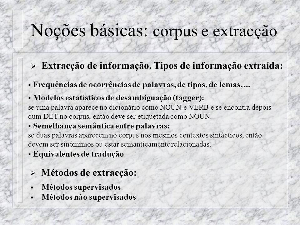Noções básicas: corpus e extracção Extracção de informação. Tipos de informação extraída: Frequências de ocorrências de palavras, de tipos, de lemas,.