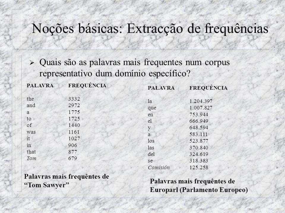 Noções básicas: Extracção de frequências Quais são as palavras mais frequentes num corpus representativo dum domínio específico? PALAVRAFREQUÊNCIA the