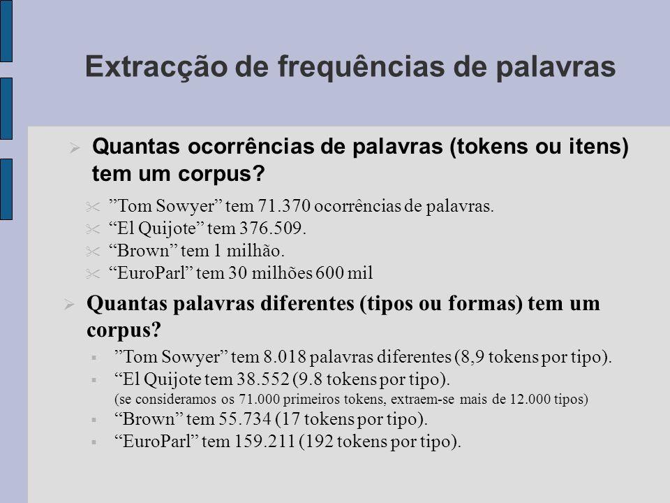 Extracção de frequências de palavras Quantas ocorrências de palavras (tokens ou itens) tem um corpus.