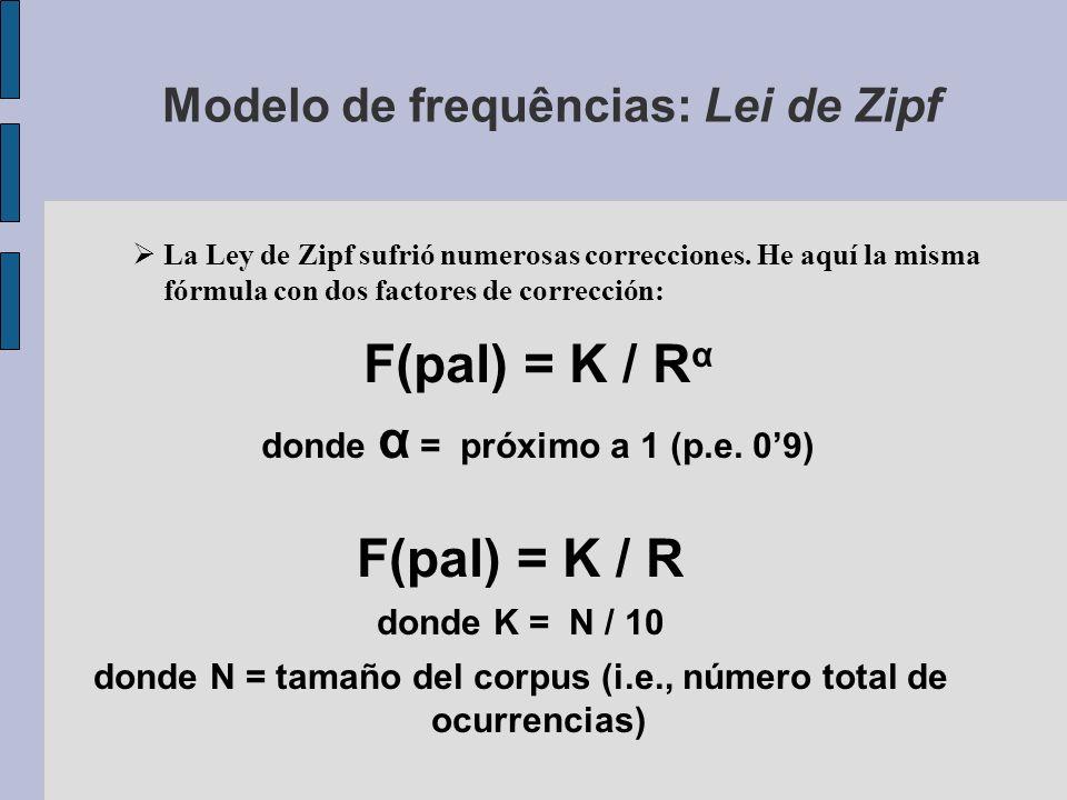 Modelo de frequências: Lei de Zipf F(pal) = K / R donde K = N / 10 donde N = tamaño del corpus (i.e., número total de ocurrencias) La Ley de Zipf sufrió numerosas correcciones.