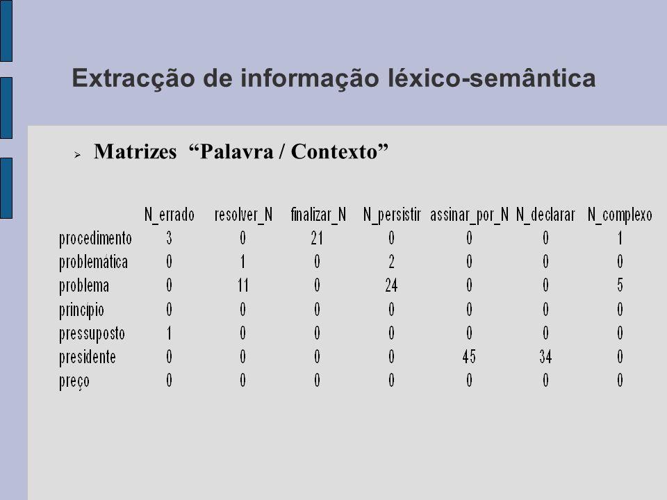 Extracção de informação léxico-semântica Matrizes Palavra / Contexto