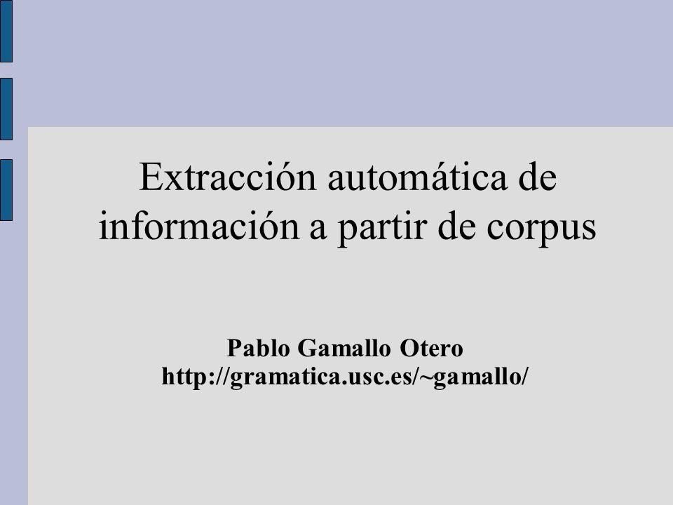 Extracción automática de información a partir de corpus Pablo Gamallo Otero http://gramatica.usc.es/~gamallo/