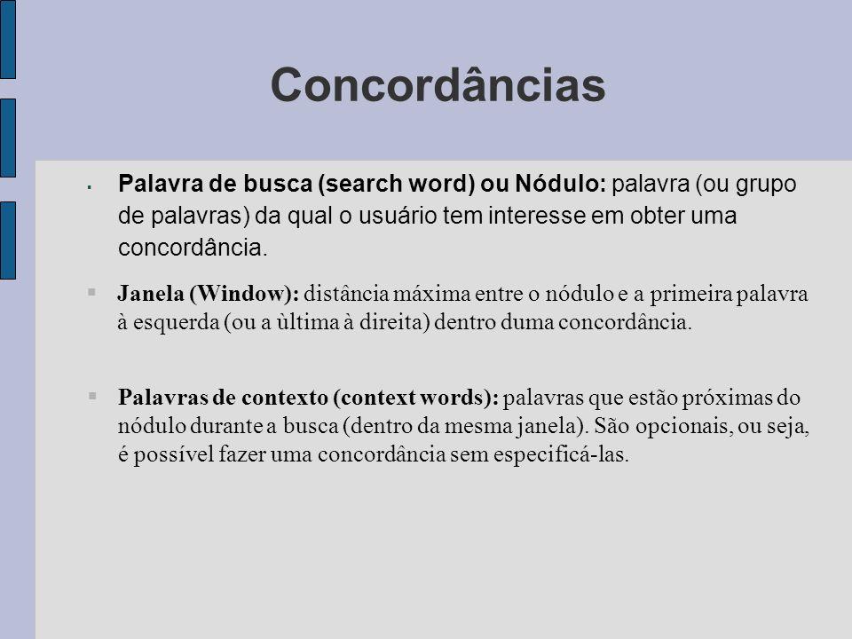 Concordâncias Palavra de busca (search word) ou Nódulo: palavra (ou grupo de palavras) da qual o usuário tem interesse em obter uma concordância.